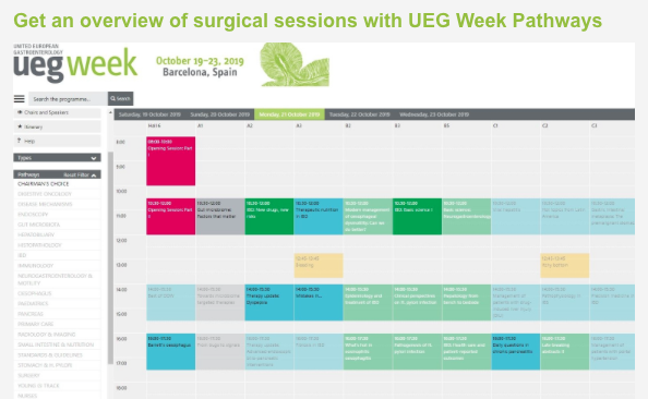 Get an overview of surgical sessions with UEG Week Pathways